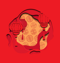 chinese red greeting card with 3d chinese lantern vector image
