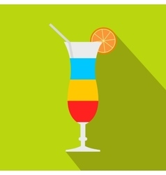 Cocktail with lemon icon flat style vector image
