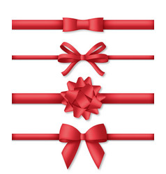 collection decorative red bows with horizontal vector image