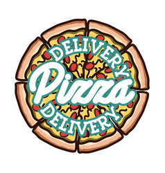 Color vintage pizza delivery emblem vector