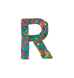 Colorful ornamental alphabet letter r font vector