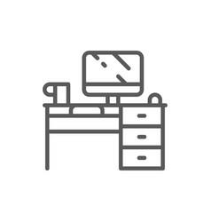 computer desk workplace line icon vector image