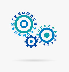 connected cogwheels teamwork success words vector image