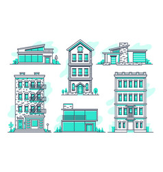 contemporary urban and suburban houses line icons vector image