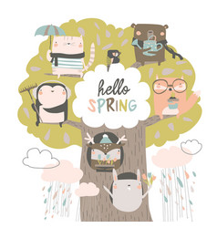 cute animals sit on spring tree on white vector image