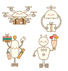 cute kawaii robots character set delivery drones vector image