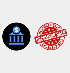 dollar bank icon and distress december sale vector image