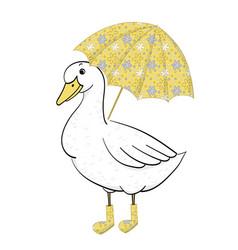 duck with umbrella hand drawn goose vector image