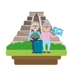 elderly couple sightseeing cartoon vector image