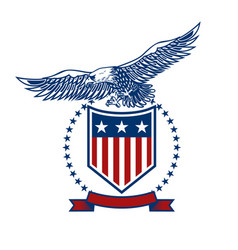 emblems with eagles and usa flags design element vector image