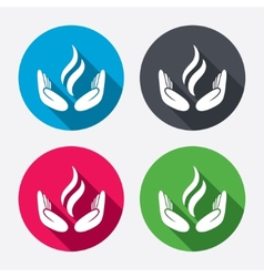 Energy hands sign icon Power from hands symbol vector