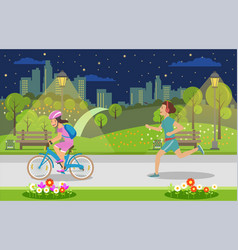 Evening leisure for parents and children big city vector