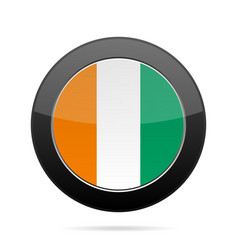 Flag of ivory coast shiny black round button vector