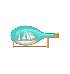 flat icon of glass bottle on wooden stand vector image