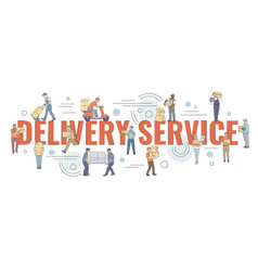 flat style couriers holding loading or carrying vector image