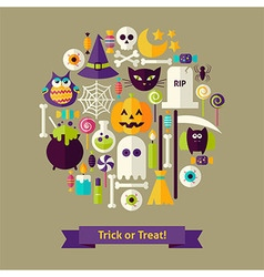 Flat Style Trick or Treat Halloween Objects vector
