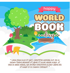 Floating pop up story book with nature scenery vector