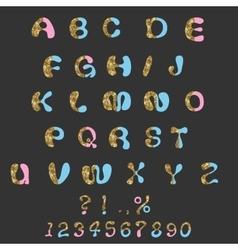 Glitter Alphabet Custom Characters Cute Font Comic vector image