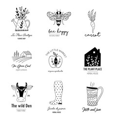 hand drawn farm logo set in doodle style vector image