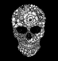 Hand drawn human skull made floral shapes design vector