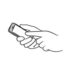 hand of businessman pressing screen of mobile vector image