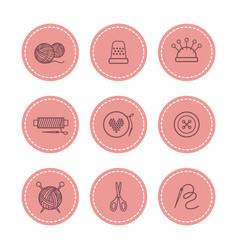 handmade and sewing badges set vector image