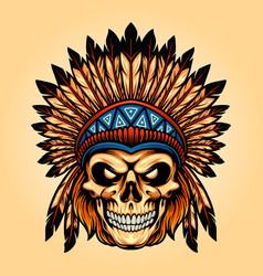 indian angry skull isolated vector image