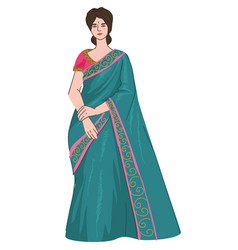 Indian woman wearing saree dress ethnic clothes vector