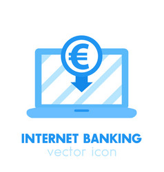 Internet banking payment in euro icon vector