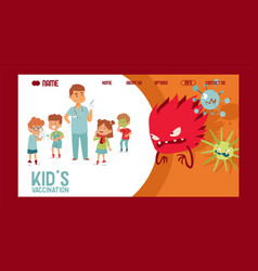 Kids vaccination banner website design sick vector