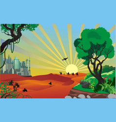 landscape - an oasis in the desert vector image