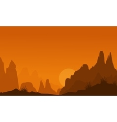 Landscape of many cliff silhouettes vector image