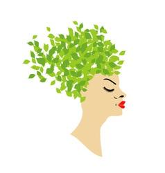 leafy hair vector image