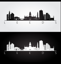 leeds skyline and landmarks silhouette vector image