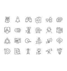 line startup icons set on white background vector image