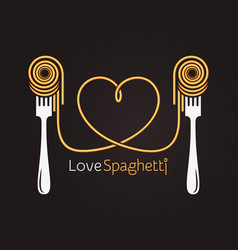 Love spaghetti concept pasta with fork on black vector