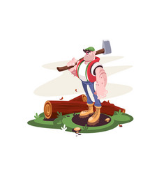 lumberjack male with axe and downed log in forest vector image