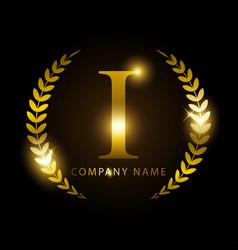 luxury golden letter i for premium brand identity vector image