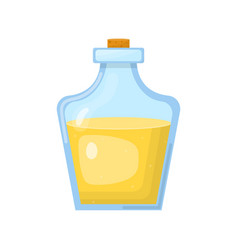 Magic potion in bottle with yellow liquid vector