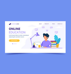 man with laptop landing page education or working vector image