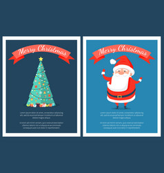 merry christmas set of posters with santa claus vector image