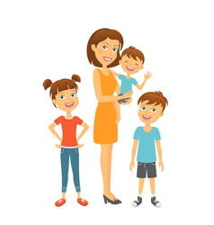 Mother with kids happy family and children vector