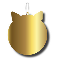 New year decoration golden pig silhouette flat vector