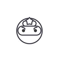 ninja emoji concept line editable concept vector image