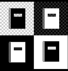 notebook icon on black white and transparent vector image