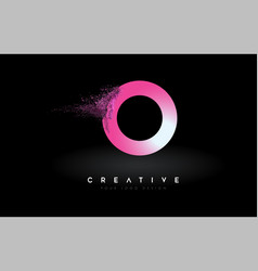 O letter logo with dispersion effect and purple vector