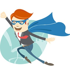 Office superman flying in front of his working vector image