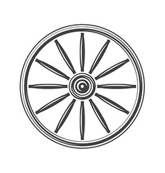 Old western wagon wheel Black icon logo element vector