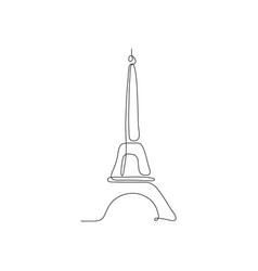 One line eiffel tower design silhouette vector