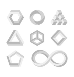 Paradox impossible shapes 3d twisted objects vector image